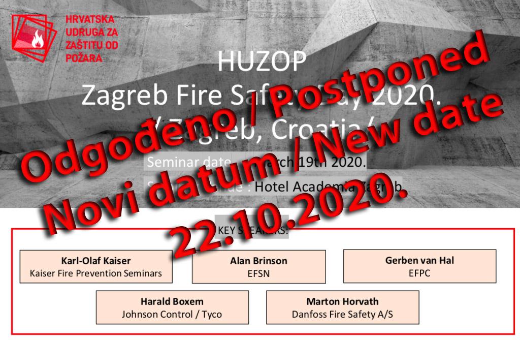 Obavijest o odgodi HUZOP Zagreb Fire Safety Day konferencije na 22.10.2020. godine